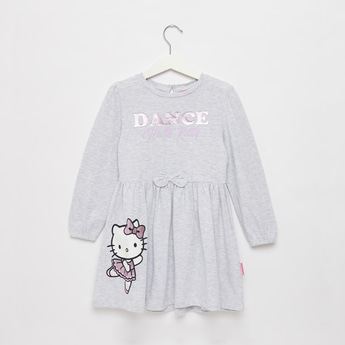 Hello Kitty Graphic Print Dress with Round Neck and Long Sleeves