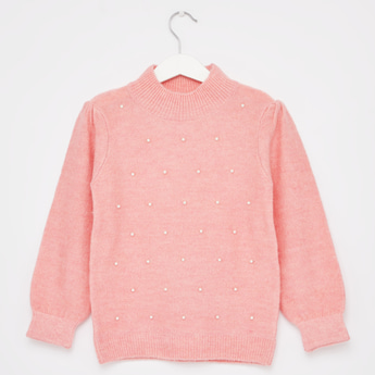 Embellished Pearl Detail Sweater with High Neck and Long Sleeves