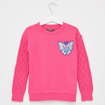 Butterfly Embroidery Sweater with Long Sleeves