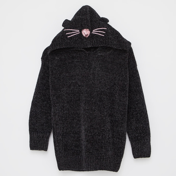 Knitted Sweater with Hooded Neck and Long Sleeves