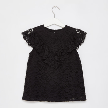 Textured Lace Detail Top with Cap Sleeves and Button Closure