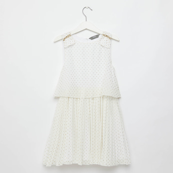 Stud Embellished Knee Length Pleated Sleeveless Dress