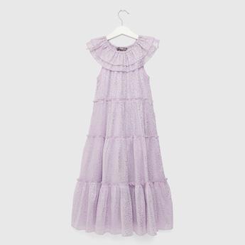 Foil Print Tiered Maxi Sleeveless Dress