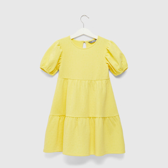 Textured Tiered Dress with Puff Sleeves and Keyhole Closure