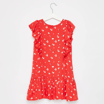 Floral Print Round Neck Sleeveless Dress with Frills