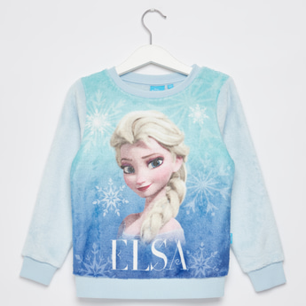 Frozen Elsa Print Sweat Top with Round Neck and Long Sleeves