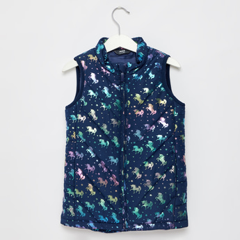 Unicorn Print Padded Gilet with Zip Closure