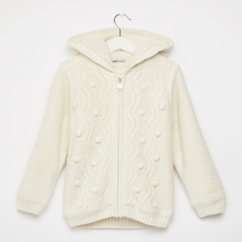 Patterned Sweater with Hood and Front Zip Closure