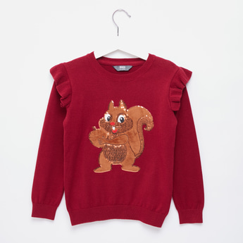 Chipmunks Sequin Detail Sweater with Long Sleeves and Ruffle Detail