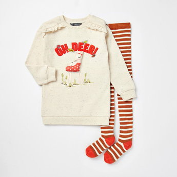 Applique Detail Sweater Dress with Striped Stockings