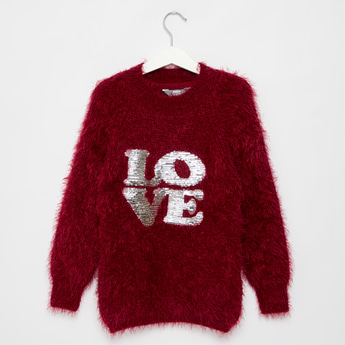 Embellished Plush Sweater with Long Sleeves