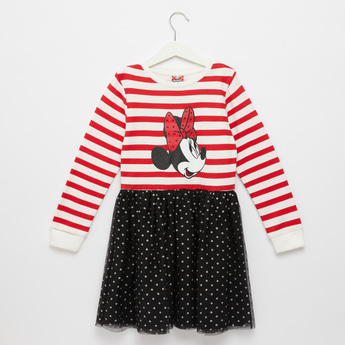 Minnie Mouse Print Dress with Round Neck and Long Sleeves