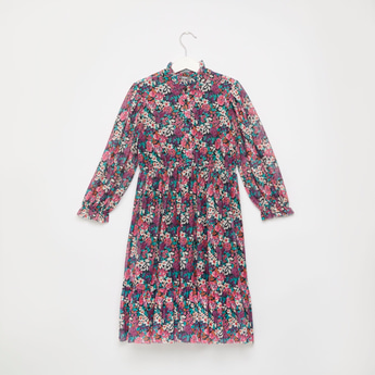Floral Print Maxi Mesh Dress with Long Sleeves and Button Placket