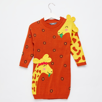 Giraffe Applique Detail Sweater Dress with Long Sleeves