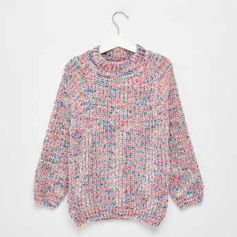 Textured High Neck Pullover with Long Sleeves