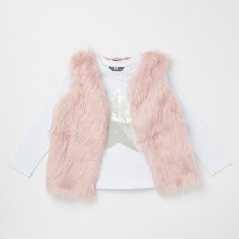 Sequin Embellished Round Neck T-shirt with Fur Gilet Set