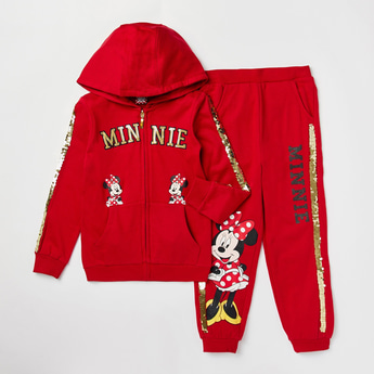 Minnie Mouse Sequin Detail Long Sleeves Jacket with Jog Pants