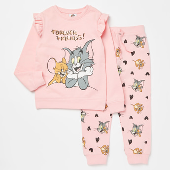 Tom and Jerry Graphic Print Long Sleeves Sweatshirt with Jog Pants Set