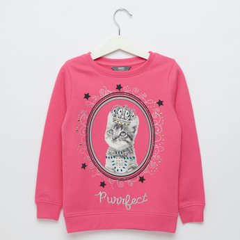 Embellished Round Neck Sweatshirt with Long Sleeves