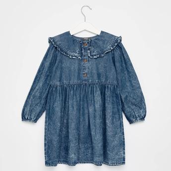 فستان قميص سادة بياقة عادية وأكمام طويلة