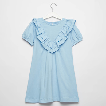 Solid Ruffled Knee Length Dress with Short Sleeves and Button Closure