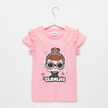 L.O.L. Surprise! Print T-shirt with Cap Sleeves and Ruffle Detail