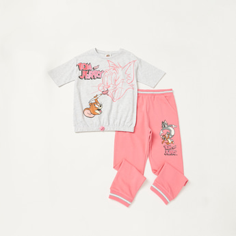 Tom and Jerry Graphic Print T-shirt with Jog Pants Set