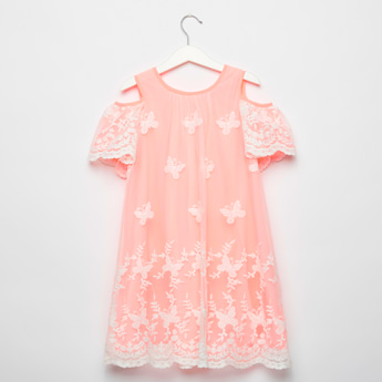 Butterfly Embroidered Cold Shoulder Dress with Short Sleeves