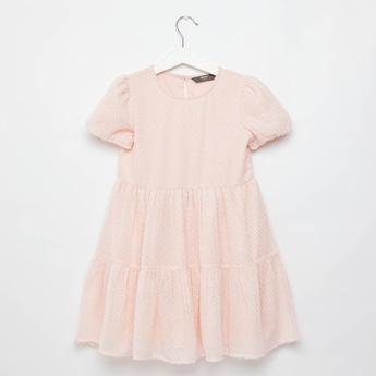Lurex Dobby Textured Round Neck Tiered Dress with Puff Sleeves