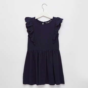Solid Sleeveless Dress with Round Neck and Ruffles