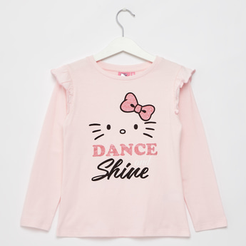Hello Kitty Print Round Neck T-shirt with Long Sleeves