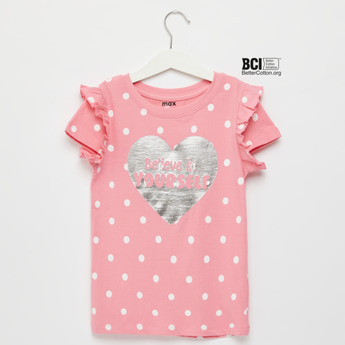 Graphic Print T-shirt with Cap Sleeves and Frill Detail
