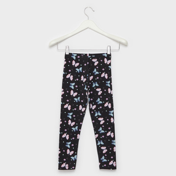 Butterfly Print Full Length Leggings with Elasticated Waistband
