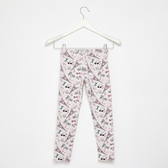 Skinny Fit All-Over Print Leggings with Elasticised Waistband