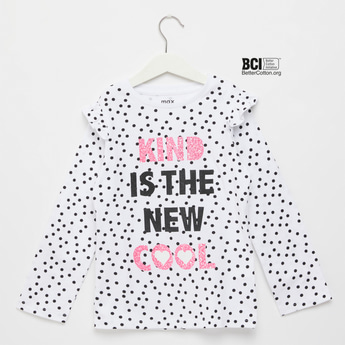All-Over Graphic Print T-shirt with Long Sleeves and Frill Detail