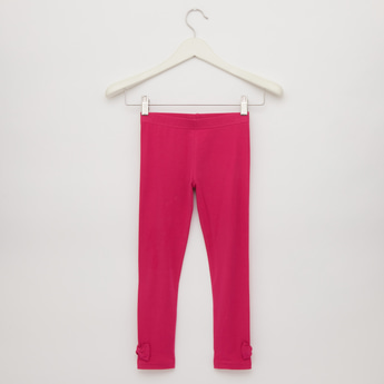 Full Length Solid Leggings with Bow Applique and Elasticised Closure