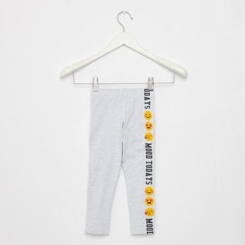 Full Length Emoji Print Leggings with Elasticised Waistband