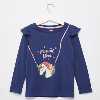 Unicorn Print T-shirt with Round Neck and Long Sleeves