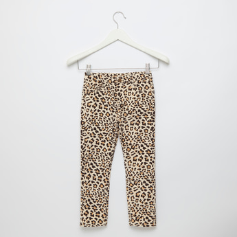 Animal Print Pants with Pockets and Button Closure