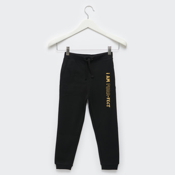 Textured Print Jog Pants with Pockets and Drawstring