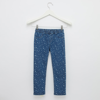 Printed Full Length Jeggings with Elasticated Waistband