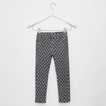 All-Over Star Print Jeggings with Pockets and Elasticised Waistband