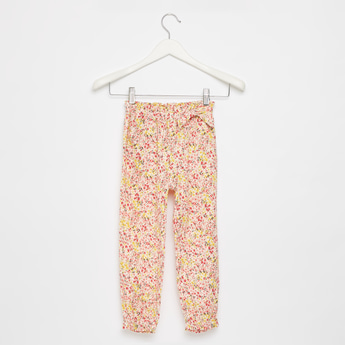 All-Over Print Pants with Pockets and Bow Applique Detail