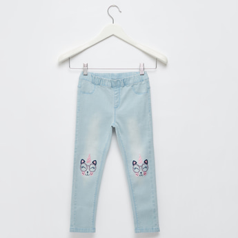 Full Length Embroidered Jeggings with Elasticised Waistband