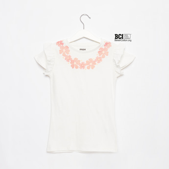 Floral Print Round Neck T-shirt with Ruffle Detail Cap Sleeves