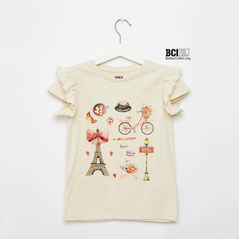 Paris Themed Print Round Neck T-shirt with Ruffle Detail Cap Sleeves