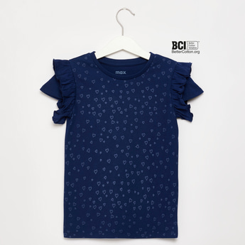 All-Over Heart Print T-shirt with Ruffle Detail and Cap Sleeves