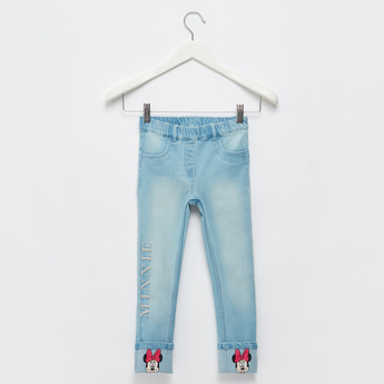 Full Length Minnie Mouse Embroidered Jeggings with Pocket Detail