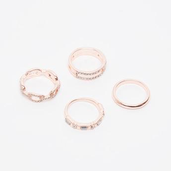 Set of 4 - Studded Finger Rings