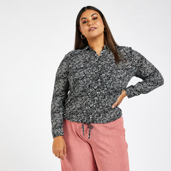 All-Over Print Shirt with Long Sleeves and Drawstring Hem